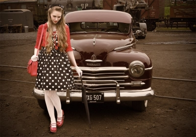 40's woman in red and blue and car V2 copy