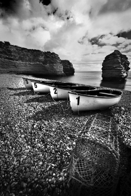 Boats at Ladram bay