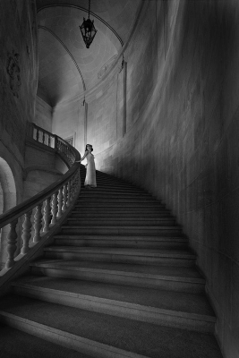 woman descending staircase