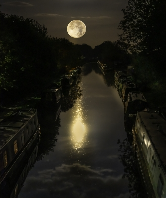 Super Moon Over Canal